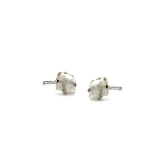 Raw Moonstone Stud Earrings