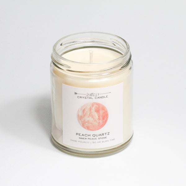 Peach Quartz Crystal Candle  Inner Peace
