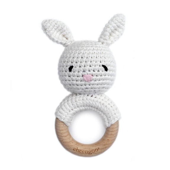 Bunny Rattle Teether Snow