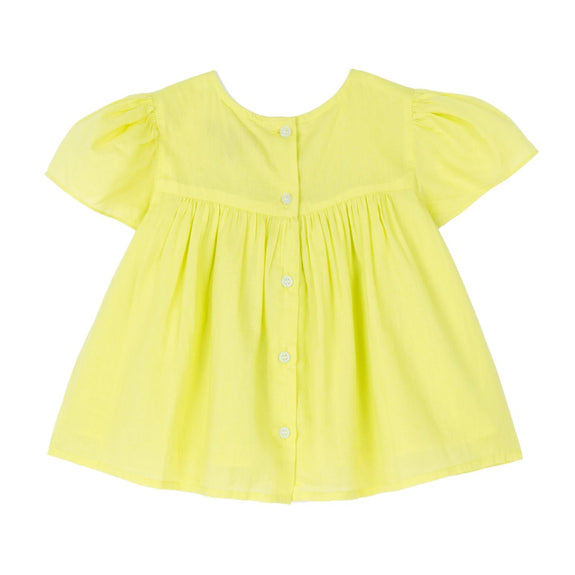Juniper Embroidered Yoke Top - Neon Yellow Voile