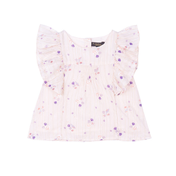 Izzy Princess Seam Top - Seashell Ditsy Lurex