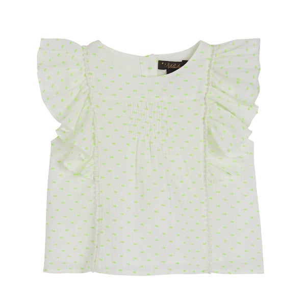 Izzy Princess Seam Top - White/Neon Dobby