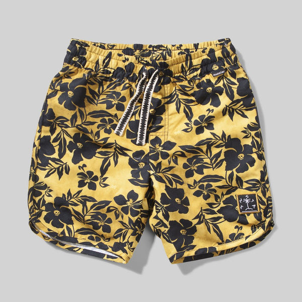 Skull Biscuis Board Shorts - Mustard