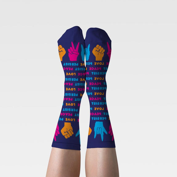 Women's Crew Socks Love Peace Persist