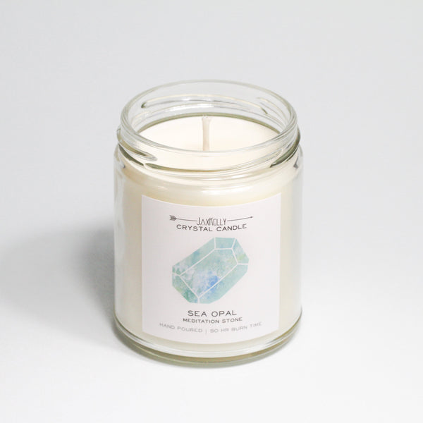 Sea Opal Crystal Candle  Meditation