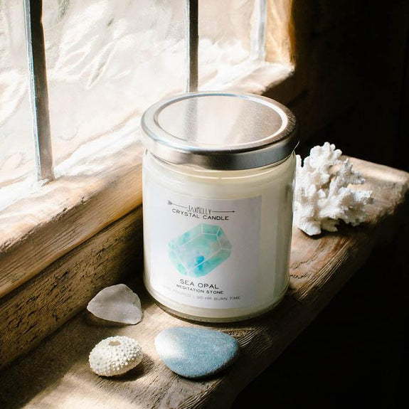 Sea Opal Crystal Candle - Meditation