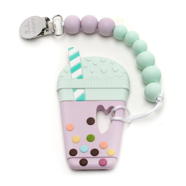 Silicone Teether Holder Set - Taro Bubble Tea - Lilac Mint
