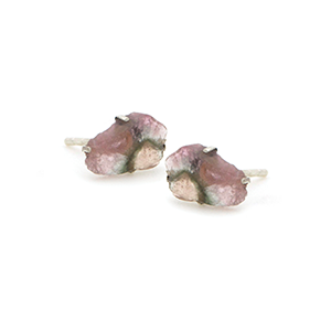 Raw Tourmaline Sterling Silver Stud Earrings