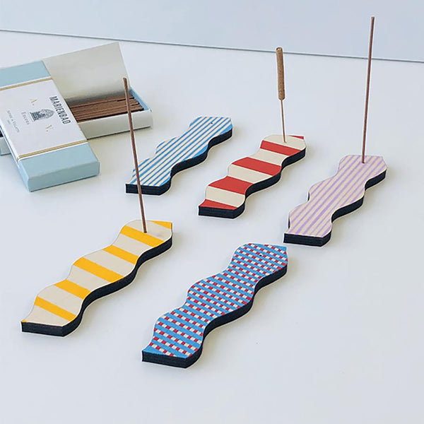 Wave Incense Holder - Yellow Stripe