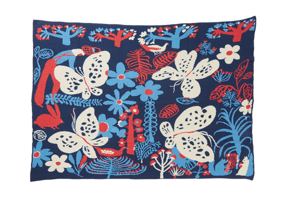 Child Blanket Butterfly Navy