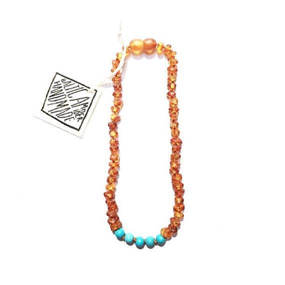 Adult: Raw Baltic Amber + Turquoise Howlite Necklace