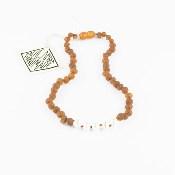 Adult: Raw Cognac Amber + Pearl Necklace