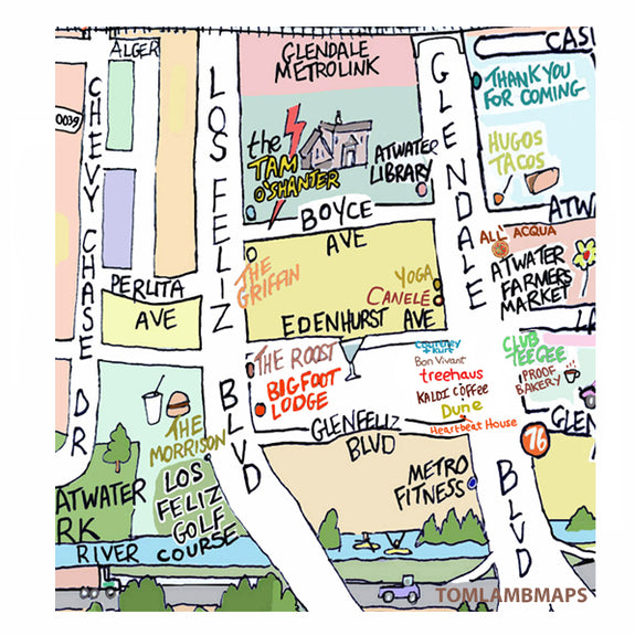 Atwater Village Map Print
