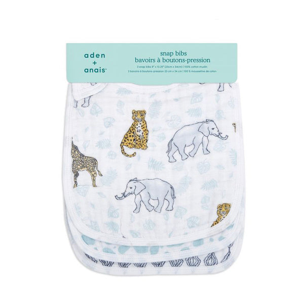 Classic Muslin Snap Bibs Set of 3 - Jungle