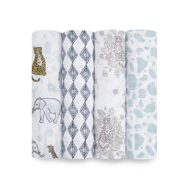 Classic Muslin Swaddles Set of 4 - Jungle