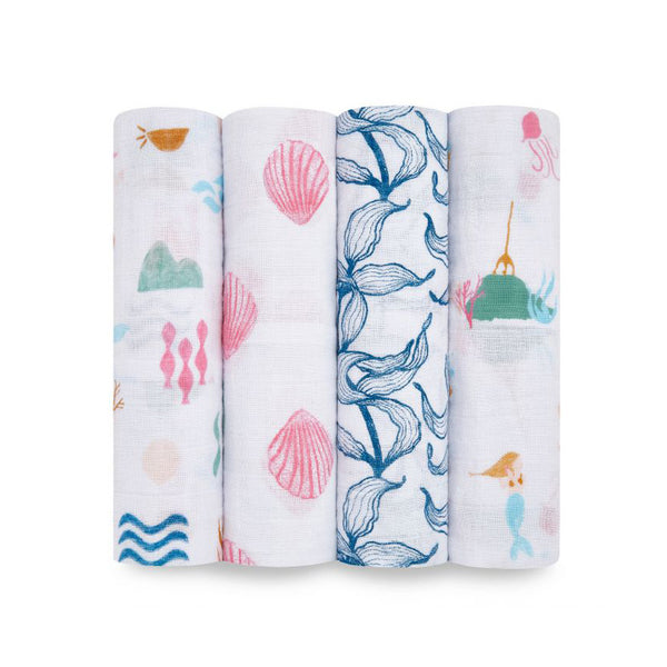 Classic Muslin Swaddles Set of 4 - Salty Kisses