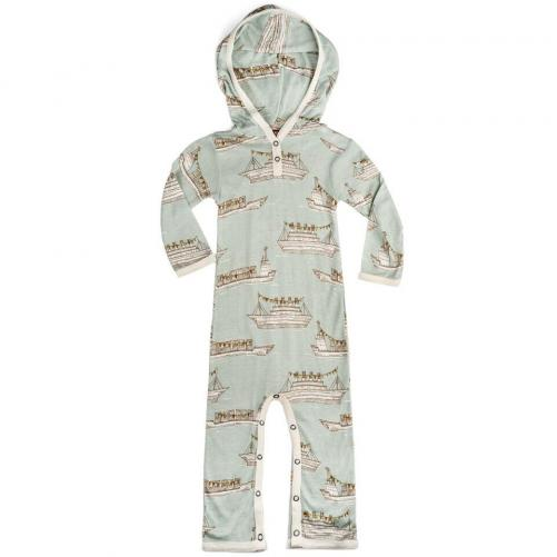 Bamboo Hooded Romper (Blue Ships)