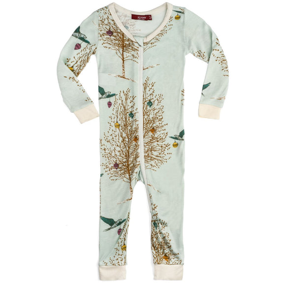 Bamboo Zipper Pajamas (Christmas Birds)