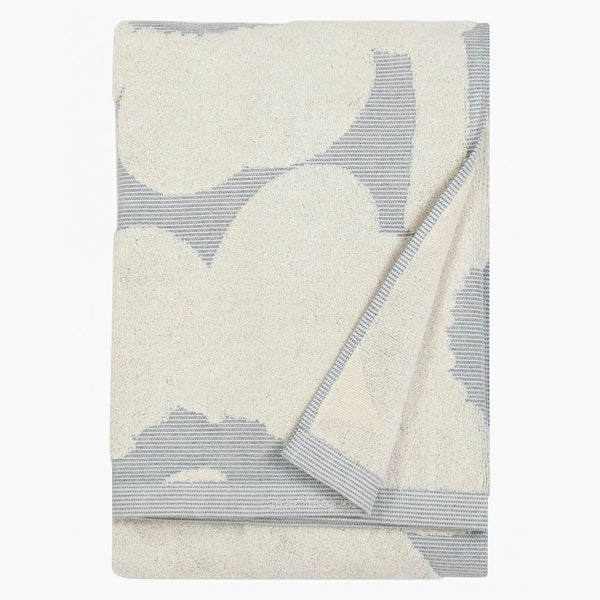 Unikko Jacquard bath towel (off-white, blue)