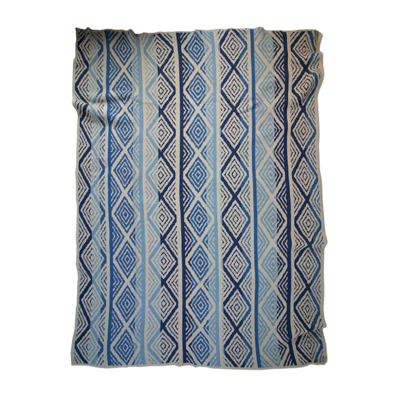 Diamond Stripes Blues Throw