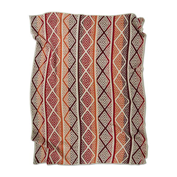 Diamond Stripes Reds Terracotta Throw