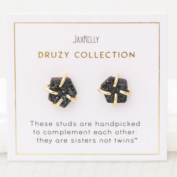 Druzy Prong Earrings - Black