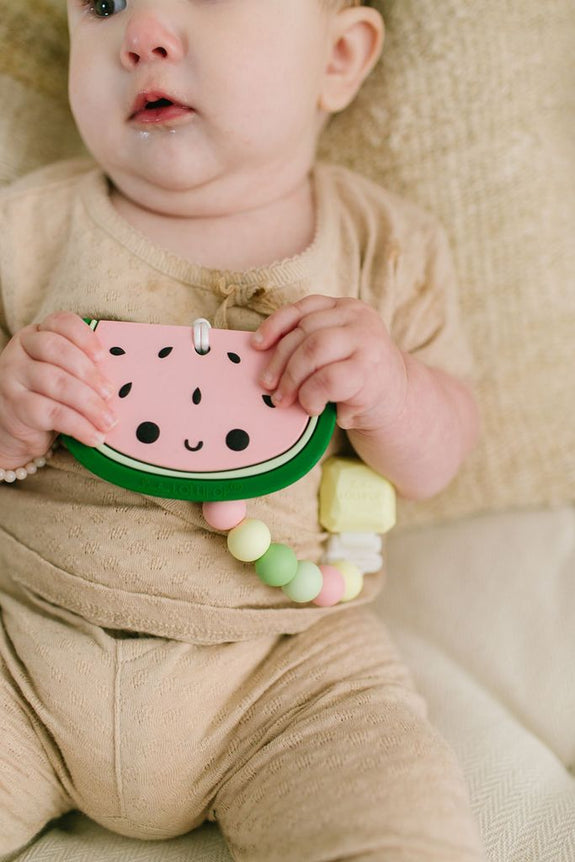 Silicone Teether Holder Set - Watermelon