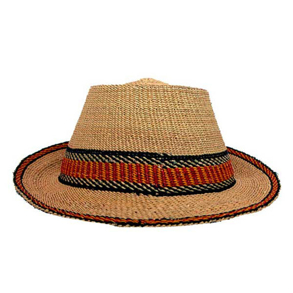 Woven Grass Fedora Style Hat