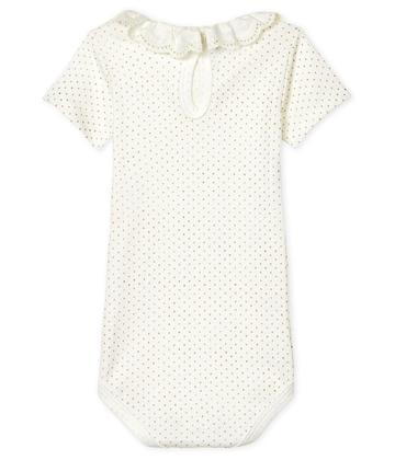 Dot Onesie with Embroidered Ruffle Collar - White/Gold