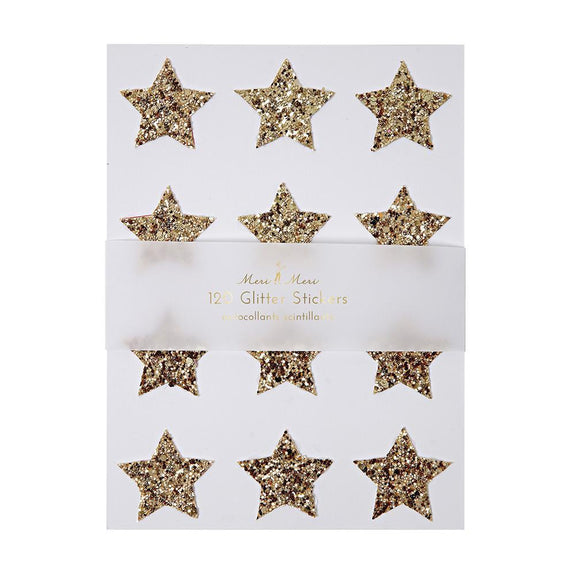 Chunky Gold Glitter Star Stickers