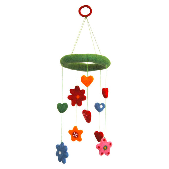 Heart And Flower Felted Mobile