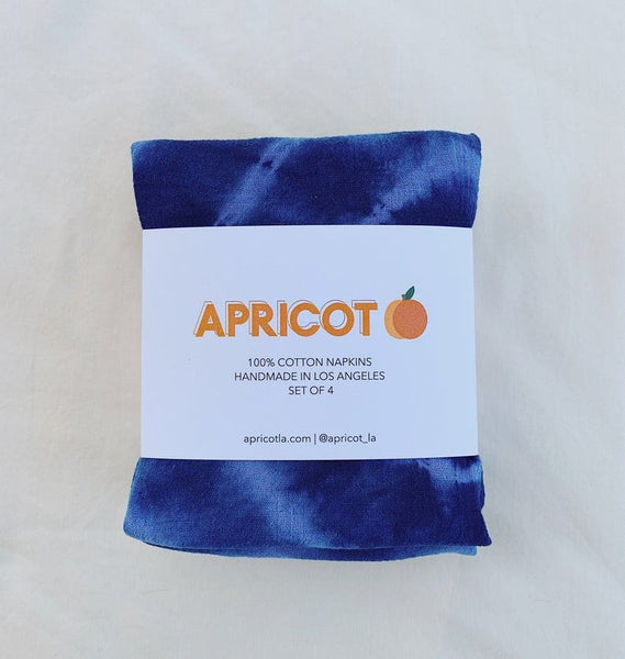 Hand Dyed Napkin Set of 4 - Shibori Stripes