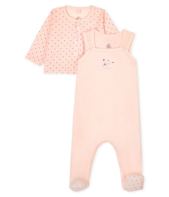 Footed Overall & Jacket - Pink/Dots