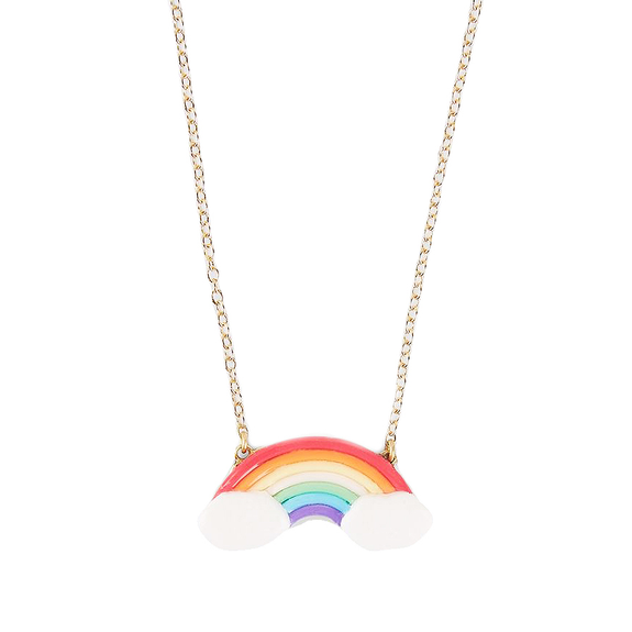 Rainbow Polymer Clay Necklace