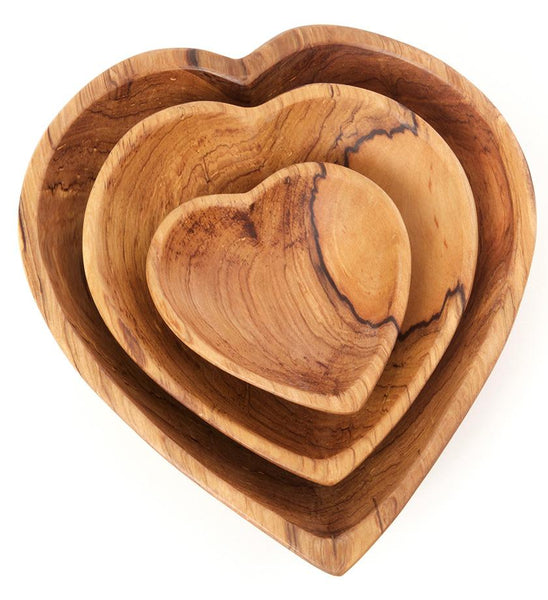 Wood & Bone Heart Bowl Set