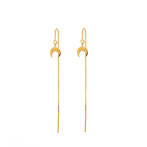 Moon TE Threader Chain Earrings