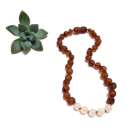 Kids: Raw Amber + Moonstone Necklace