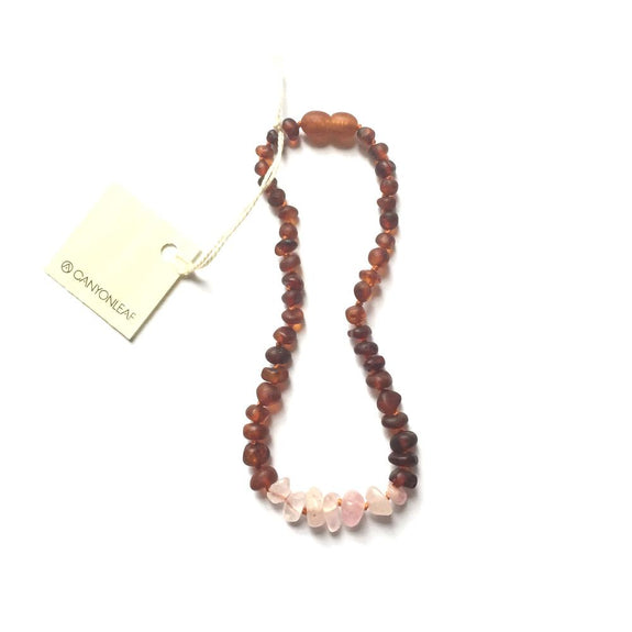 Kids: Raw Cognac Amber + Raw Rose Quartz