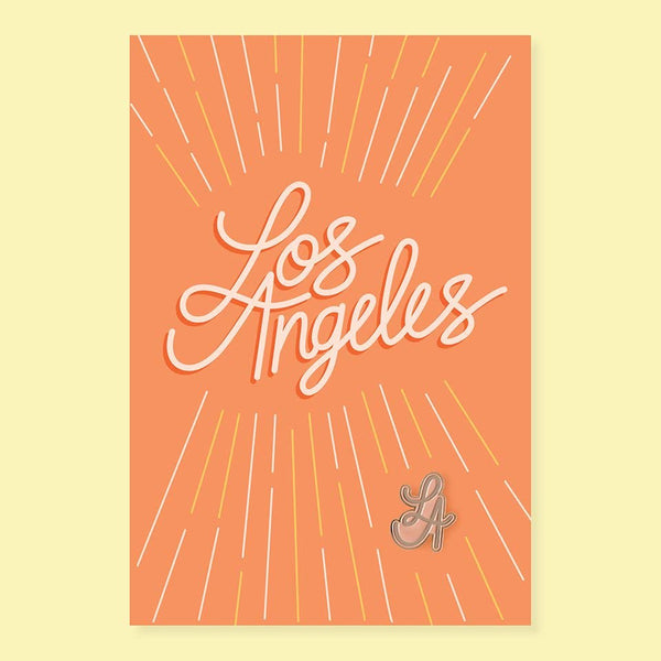 Los Angeles City Pin and Post Card
