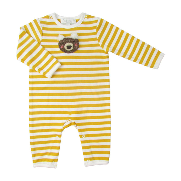 Crochet Bear Face Babygro Yellow