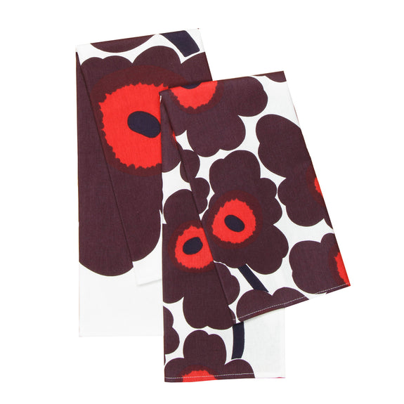Unikko Tea Towels Set of 2 - Plum/Red