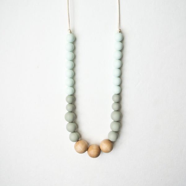 Wood + Silicone Necklace - Mint Sage