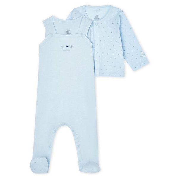Footed Overall & Jacket - Light Blue