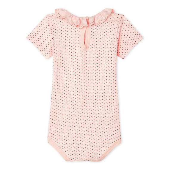 Dot Onesie With Embroidered Ruffle Collar - Pink/Gold