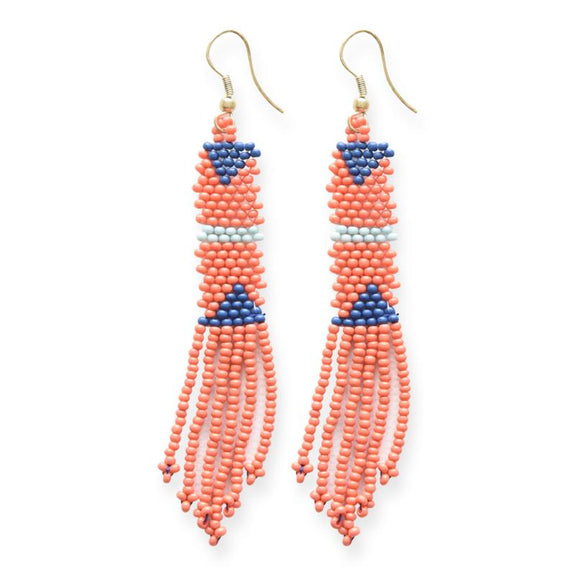 Petite Fringe Seed Bead Earrings Coral
