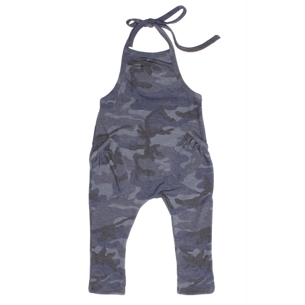 Peyton Camo One Piece Overalls - Blue