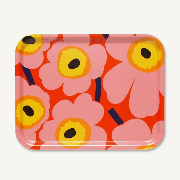Pieni Unikko plywood tray (Pink/Yellow)
