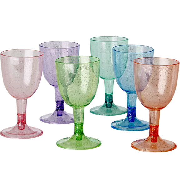 Six Plastic Glitter Wine Glasses