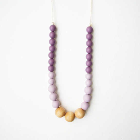 Wood + Silicone Teething Necklace - Plum Mauve