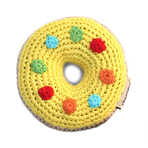 Crocheted Donut Rattle Yellow